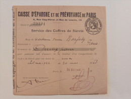 Caisse D´épargne : Service Des Coffres De Sureté En 1922 - Banque & Assurance