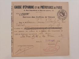 Caisse D´épargne : Service Des Coffres De Sureté En 1926 - Banque & Assurance