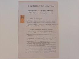 Engagement De Location  ,Timbre  De Dimension  8 F En 1937 - France