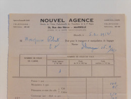 Facture De Transport Par Bateau   ( Nouvel Agence) à Marseille En 1952 - Transports