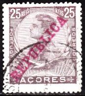 AÇORES-1911, D. Manuel II. Selos Emissão Anterior C/ Sob.«REPUBLICA» 25 R.  D.14x15 Pap. Esmalte.  (o) Afinsa Nº 126 - Azores