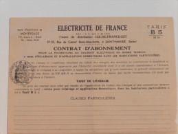 Contrat  D´Abonnement  :électricité  :Tarif B  MD En 1956 - France