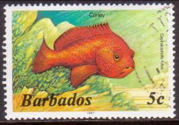 BARBADOS 1986 SG #796B 5c VF Used Imprint 1987 Wmk Mult. Crown Script CA Diagonal Marine Life - Barbados (1966-...)