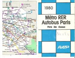 Plan De Réseaux - RATP Métro RER Autobus Paris 1980 - Europe