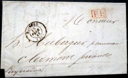 SAI?TES 17  A CLERMONT FERRAND  3 CACHETS  PP ROUGE 1842 AUBERGIER PHARMACIEN - Marcophilie (Lettres)