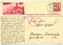 Entier Postal POSTKARTE Avec Illustration CASTAGNOLA Lugano 20 R 1942 Zensur Censored To Germany ... Adventsgruss ! - Stamped Stationery