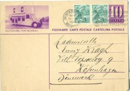 Entier Postal POSTKARTE Avec Illustration AUTOMOBIL-POSTBUREAU Bureau Ambulant 10 R 1938 - Interi Postali