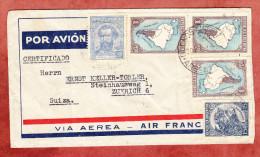 Luftpost, Einschreiben Reco Certificado, Landkarte U.a., Via Air France, Buenos Aires Nach Zuerich 1936 (74690) - Argentinien
