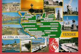 85 - Carte Contour Géographique Du Département De LA VENDEE - Cartes Géographiques