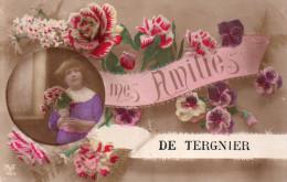 """Cpa  02  Tergnier ..carte Fantaisie .."""" Mes Amities De Tergnier """" - Autres Communes"""