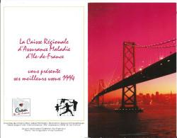 Calendrier de poche publicitaire, caisse r�gionale d'assurance Maladie, Pont de la baie D' Oakland San Francisco
