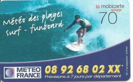 CARTE-PREPAYEE-MOBICARTE-70F- PU142-07/2001-06/2003-METEO DES PLAGES-V° Code Jet D Encre-TBE - Frankreich