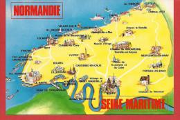 76 - Carte Contour Géographique Du Département De SEINE MARITIME - Cartes Géographiques