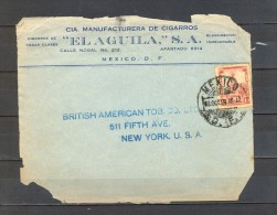 "1926, MÉXICO, FRONTAL DE SOBRE COMERCIAL MANUFACTURERA DE CIGARROS "" EL AGUILA"", CIRCULADO A NUEVA YORK - Mexico"