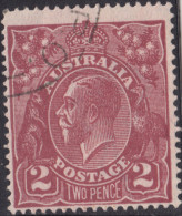 Australia 1913 - 1924 King George 2d brown - p used - 14 perf. per inch - single crown over A watermark
