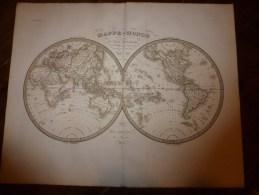 1831 MAPPE-MONDE Dressée Par Lapie 1er Géographe Du Roi,  Gravure Lallemand ,  Chez Eymery Fruger & Cie - Geographical Maps