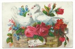 """CPA -Très Belle Carte Gaufrée """" JE ME SOUVIENT...."""" - Colombes Dans Corbeille De Fleurs -Circulé - Fantaisies"""