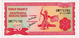 BURUNDI 20 FRANCS 2007 Pick 27d Unc - Burundi