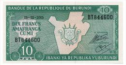 BURUNDI 10 FRANCS 2005 Pick 33e Unc - Burundi