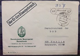 DDR DBD Dienstbeleg,  Demokratische Bauernpartei Deutschlands, Klingenthal - Dienstpost
