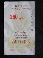 transport ticket from Belarus Minsk city bus trolleybus tram 250rbl.