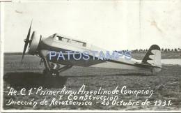 3146 ARGENTINA CONCEPCION ENTRE RIOS PRIMER AVION AVIATION Y CONSTRUCCION DE AEROTECNICA YEAR 1931 POSTAL POSTCARD - Argentinien