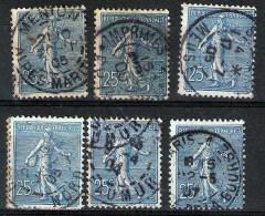 France - Lot De  6 Semeuses Lignées N° Y&T  132, Oblitérations Choisies -Menton, Nord, Meuse, Saumur, Paris... - 1903-60 Säerin, Untergrund Schraffiert