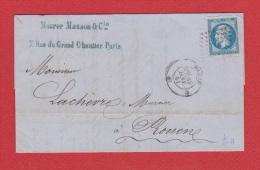 Lettre  De Paris   -----   Pour Rouen     ---   16 Janv 1861 - 1849-1876: Période Classique