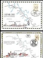 BE  2350HK  ---   500 Ans Liaison Innsbruck / Malines  --  Les 4 Cartes Et Pays  --  Verso Avec Inscriptions - Souvenir Cards