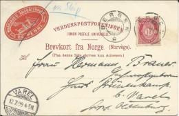 1899 - NORGE - CARTE Avec RARE TIMBRE LOCAL MARITIME De LAERDALSÖREN (CACHET De BERGEN) Pour VAREL - Briefe U. Dokumente