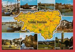 64 - Carte Contour Géographique Du Département Des PYRENEES ATLANTIQUES - Maps
