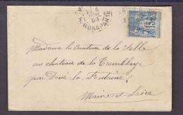 FRANCE.TIMBRE.LETTRE.SAGE.......PARIS BONAPARTE COMTESSE DE LA SELLE CHATEAU TREMBLAYE MAINE ET LOIRE - 1876-1898 Sage (Type II)