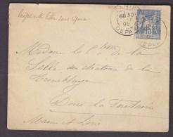 FRANCE.TIMBRE.LETTRE.SAGE.......PARIS DEPART COMTESSE DE LA SELLE TREMBLAYE CHATEAU MAINE ET LOIRE - 1876-1898 Sage (Type II)