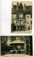 24 SARLAT LA CANEDA 2 Cartes  Le Kiosque De Musique 1911 Et  Devanture De Commmerce  Vieimlle Maison  1912   /D02-2015 - Sarlat La Caneda