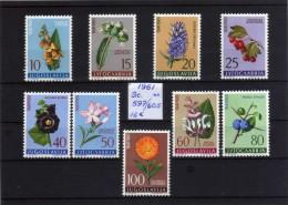 1961 - Yugoslavia - Sc. 597/605 - Flores - MNH - YU- 15 - Ongebruikt