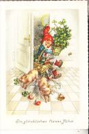 ZWERGE / Gnome / Dwarfs / Nains / Nani / Dwergen / Enanos - Zwerg, Schweine, Glückspilze, Kleeblatt - Ansichtskarten