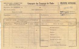 R�C�PISS� A REMETTRE AU DESTINATAIRE : COMPAGNIE DES TRAMWAYS DE L�INDRE PETITE VITESSE  du 26 FEV 49