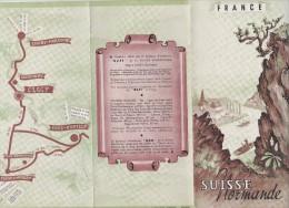 Vieux  Papier : Plan Brochure  Suisse  Normande : Thury Harcourt , Clécy , Pont  D '  Ouilly ,  ERAMBOURG   Calvados - Europe