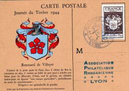France: 1944 belle carte maximum journ�e du timbre blason Renouard de Villayer cachet Lyon