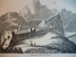 La Muraille De Chine , Gravure De 1833 Texte / - Historical Documents