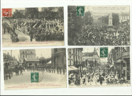 4 CPA:TROYES.(dép 10).FÊTE DE LA GYMNASTIQUE EN 1908 DRAPEAUX POUR LE MINISTRE DE LA GUERRE,CHASSEURS A PIED.ETC........ - Troyes