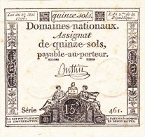 Assignat De 15 Sols Du 25 Mai 1793. - Assignats