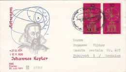 JOHANN KEPLER, ASTRONOMER, COVER FDC, 1971, GERMANY - Astrology