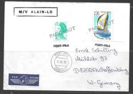 1992 Paquebot Cover, France Stamps Used In Port Vila, Vanuatu (12.02.92) - Vanuatu (1980-...)
