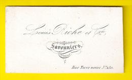 Ca1845 LOUIS RICHE & Cie SAVONNIERS Rue Terre Neuve 130 Bruxelles CARTE VISITE PORCELAINE PORSELEINKAART SAVON ZEEP P224 - Drogisterij & Parfum