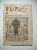 LE PELERIN 1836 de 1912.LE CAPITAINE AMUNDSEN AU POLE SUD. L'AVIATEUR TABUTEAU. CARICATURE ECOLE LAIQUE. SUR CUIRASSE..