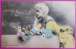 Cpa Amical Souvenir 1905 Carte Postale Bergeret Nancy Jeune Femme Frau Lady Fleurs Art Nouveau - Bergeret