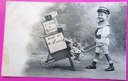 Cpa 365 Jours De Bonheur Carte Postale 1905 Jeune Garçon Commissionnaire Avec Une Brouette Bergeret Nancy - Bergeret