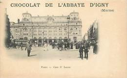 Paris - Ref B213 - Gare Saint Lazare - Gare St Lazare - Gares - Publicite Chocolat De L Abbaye D Igny ( Marne ) - - Métro Parisien, Gares