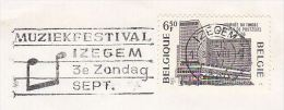 1977 BELGIUM COVER SLOGAN Pmk  IZGEM MUSIC FESTIVAL EVENT  6.50f Stamp Day  Stamps Theatre - Covers & Documents